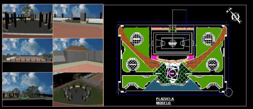 Planos de Plazuela modelo, en Centros y parques recreativos – Proyectos