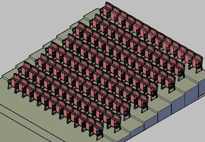 Planos de Poltronas 3d, en Cines y auditorios – Muebles equipamiento