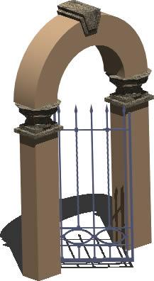 imagen Pórtico 3d con materiales aplicados, en Puertas 3d - Aberturas