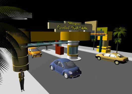 Portico de ingreso vehicular 3d, en Accesos – Proyectos