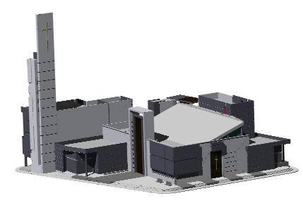 Planos de Propuesta 3d complejo parroquial sta rosa, en Arq. religiosa – Proyectos