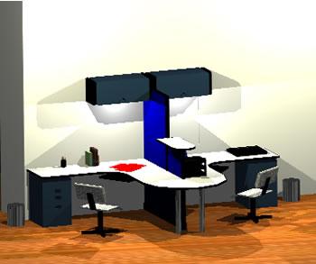 Planos de Proyecto oficina tipo 3d, en Oficinas y laboratorios – Muebles equipamiento