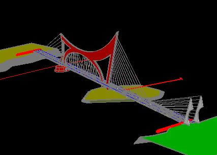 Puente colgante 3d, en Puentes – Obras viales – diques