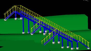 Planos de Puente en 3d, en Tendidos electricidad – Infraestructura