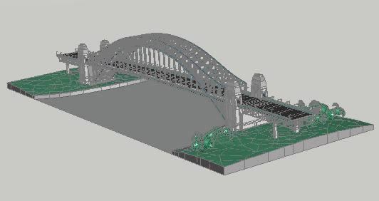 Planos de Puente en arco metalico 3d, en Puentes – Obras viales – diques