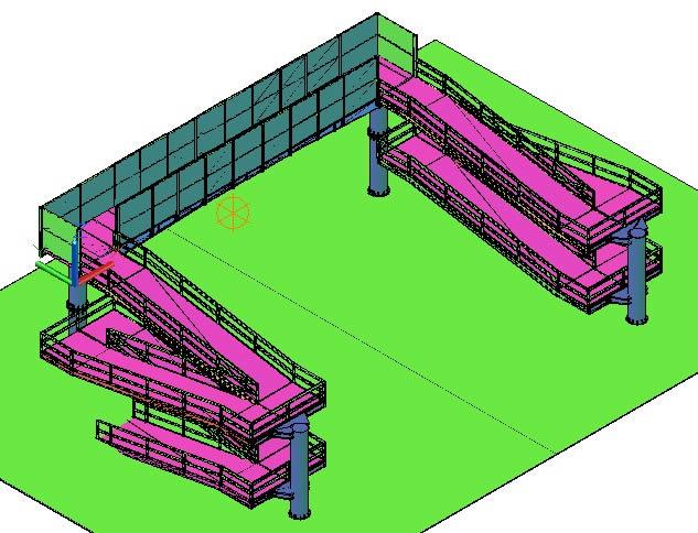Planos de Puente peatonal 3d, en Puentes – Obras viales – diques