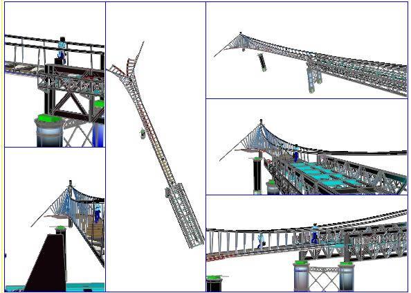 imagen Puente petonal  metalico 3d, en Puentes - Obras viales - diques