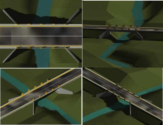 Planos de Puente vehicular en 3d, en Puentes – Obras viales – diques