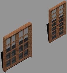 imagen Puerta 2  hojas y vidrio repartido 3d con metariales aplicados, en Puertas 3d - Aberturas