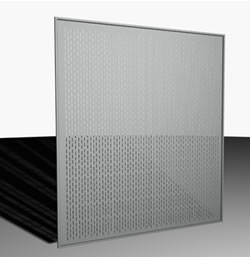 imagen Puerta corrediza en chapa perforada, en Puertas 3d - Aberturas