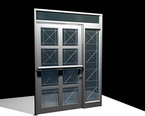 imagen Puerta de acceso a edificio 3d, en Puertas 3d - Aberturas