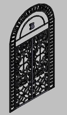Planos de Puerta de hierro forjado 3d, en Puertas 3d – Aberturas