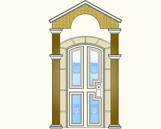 imagen Puerta en elevación, en Puertas - Aberturas
