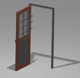 imagen Puerta metalica abierta 3d, en Puertas 3d - Aberturas