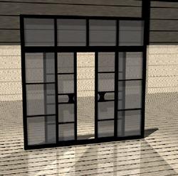 Planos de Puerta para interior 3d corrediza de dos hojas a base de alumino negro y cristal, en Puertas 3d – Aberturas