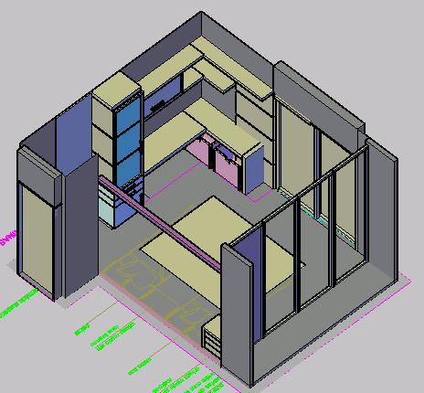 Planos de Quarto em 3d- habitacion en 3d, en Dormitorios – Muebles equipamiento