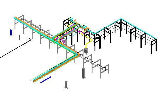 Planos de Rack de tuberias planta de gas 3d, en Provisión de gas – Instalaciones