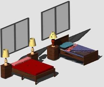 Planos de Recamara doble 3d, en Dormitorios – Muebles equipamiento