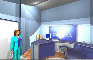 imagen Recepcion - modelo en 3d, en Oficinas bancos y administración - Proyectos