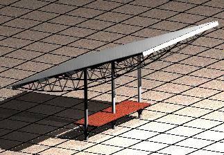 Planos de Refugio para pasajeros 3d, en Transferencia peatón – vehículo paradores – Equipamiento urbano