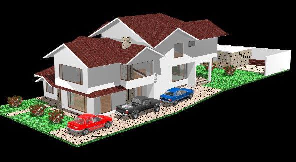 Planos de Residencia con cubiertas inclinadas 3d, en Vivienda unifamiliar 3d – Proyectos