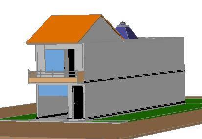 Planos de Residencia en dos niveles 3d, en Vivienda unifamiliar 3d – Proyectos