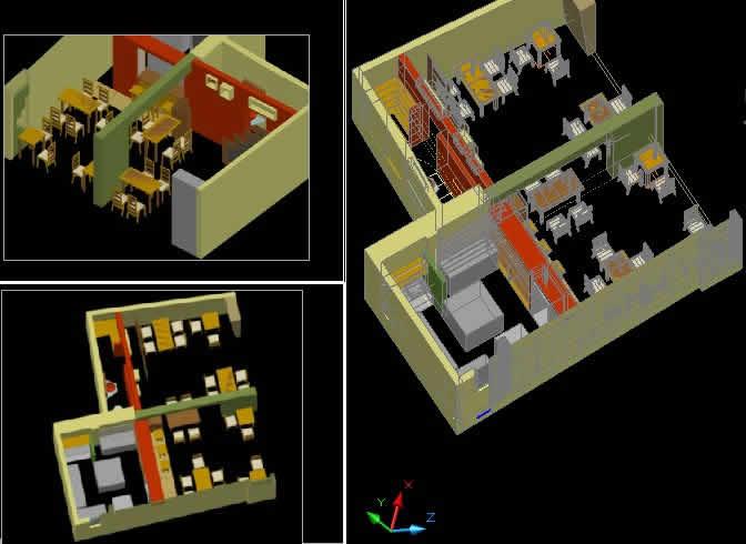 Planos de Restaurant mochica 3d, en Comedores – Proyectos