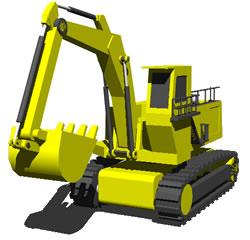 Planos de Retroexcavadora hidraulica 3d, en Maquinaria – Obradores