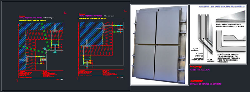 Planos de Revestimiento en fachadas: alucobond, en Tabiquería liviana – Detalles constructivos