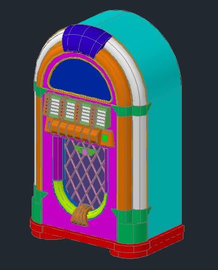 Planos de Rockola.dwg3d, en Instrumentos musicales – Muebles equipamiento