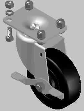 Planos de Rueda 4 con freno, en Maquinaria – proyectos varios – Máquinas instalaciones