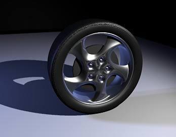 Rueda de automovil 3d, en Automóviles en 3d – Medios de transporte