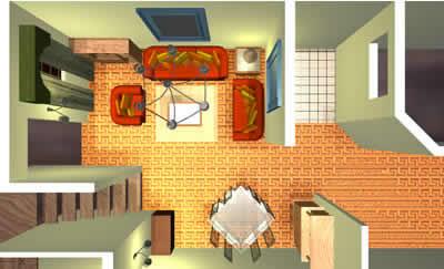 Planos de Sala-comedor 3-d, en Salas de estar y tv – Muebles equipamiento