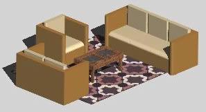 imagen Sala con alfombra 3d, en Mesas y juegos de comedor 3d - Muebles equipamiento