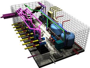 Sala de maquinas para piscina con toboganes 3d, en Salas de máquinas – filtros – Piscinas y natatorios
