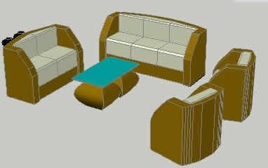 Planos de Sala de ratan 3d, en Sillones 3d – Muebles equipamiento