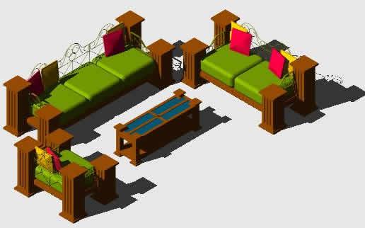 imagen Sala rustica 3d, en Sillones 3d - Muebles equipamiento