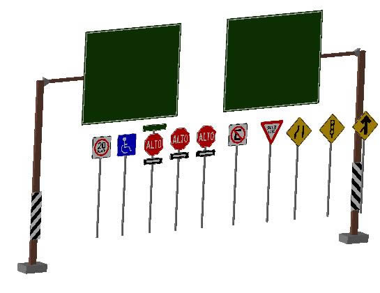 Planos de Señalamientos viales 3d, en Señaletica – Obras viales – diques