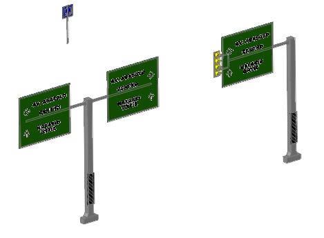 imagen Señales informativas de transito 3d, en Telecomunicaciones - Infraestructura