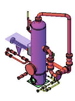 Planos de Separador de liquido 3d, en Industria petrolera – Máquinas instalaciones