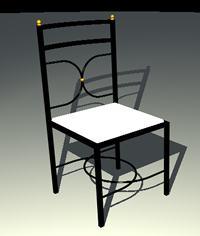 imagen Silla 3d con materiales aplicados, en Sillas 3d - Muebles equipamiento