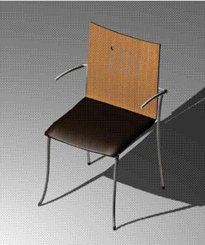 Silla 3d de madera laminada y metal con asiento tapizado, en Sillas 3d – Muebles equipamiento