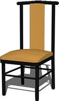 Planos de Silla con espaldar alto 3d, en Sillas 3d – Muebles equipamiento