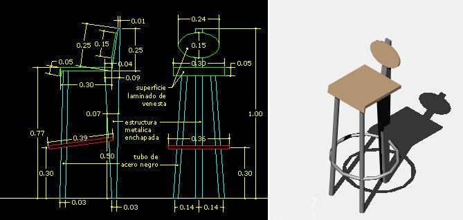 Planos de Silla de bar, en Bares y restaurants – Muebles equipamiento
