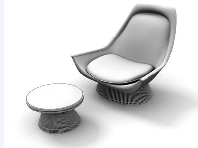 Silla de descanso con centro de mesa en 3d, en Sillas 3d – Muebles equipamiento