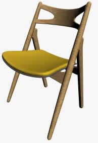 imagen Silla en madera, en Sillas 3d - Muebles equipamiento