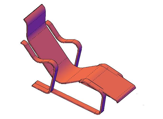 Planos de Silla larga isokon – marcel breuer, en Sillas 3d – Muebles equipamiento