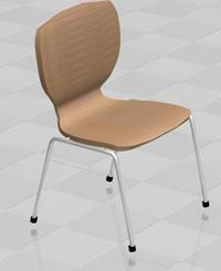 Silla madera y caño, en Sillas 3d – Muebles equipamiento