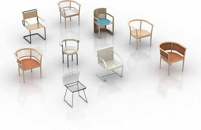 Sillas 3d, en Bares y restaurants – Muebles equipamiento