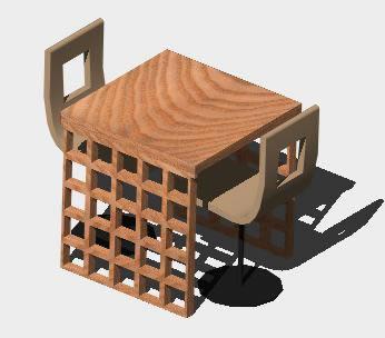 Planos de Sillas-mesa 3d, en Bares y restaurants – Muebles equipamiento